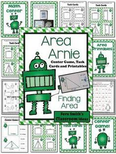 Area Arnie Mega Math Pack - Finding Area Printables, Center Game and Task Cards Area Arnie Mega Math Pack - Finding Area Printables, Center Game and Task Cards #TPT $Paid #FernSmithsClassroomIdeas