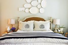 Edie's awesome guest room post.  I LOVE all her tips and aspire to them but I also love this bedding combo.