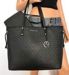 a413a402fae96b NWT Michael Kors Large Tote Handbag Bag Black Jet Set Travel MK PVC  #MichaelKors #