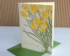 Letterpress Note set -- Daffodil thank you, merci beaucoup (set of 6). $12.00, via Etsy.