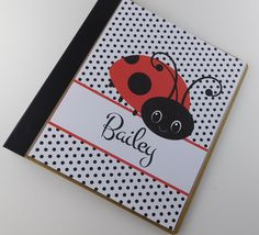 "Baby Book 677 Personalized Girl Memory Album Ladybug 8.5x11 or 6.5""x8.5"" Pages. Chipboard Baby Book with laminated personalized cover. Two baby Book Sizes, Small Book measurements are 7.5"" x9.25""x1.56"" with 1"" round rings. Full Sized Baby Book measurements are 10.5""x 11.625""x1.56"" with 1"" D rings. Natural 110 point sturdy chipboard, constructed from biodegradable fibers which is 100% recycled cardboard (85% post-consumer and 15% post-industrial). Aqueous acrylic coated natural cotton…"