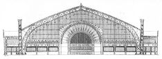 galerie des machines 114m yüks metal ve cam konstrüksiyon.yüksek çatının merkezi desteği yoktu, üç eklemli kemer strüktürü kullanılarak yaratıldı.