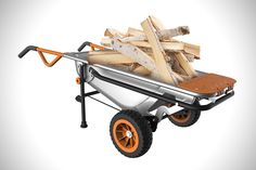 WORX AEROCART  Drag and Dump: Any bucket with wheels can be a wheelbarrow, but the AeroCart is much more. The dolly Turbo Lift design works with the barrows center of gravity to make lifting, lugging, and dropping a load much easier every step of the way. [Purchase: $160