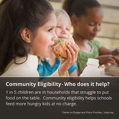 Community Eligibility helps schools feed more hungry kids at no charge. Advocate for eliminating childhood hunger
