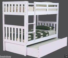 BUNK-BED-PINE-TWIN-OVER-TWIN-BUNK-BED-WITH-TRUNDLE-BRAND-NEW-SINGLE-WHITE