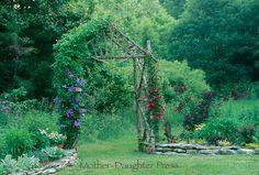 Garden arbor with climbing flowers