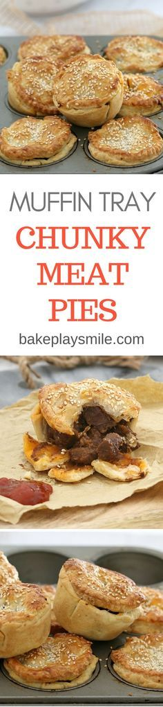 These easy muffin tray chunky meat pies are made with flakey pastry, beef chunks and a yummy gravy sauce. the perfect savoury snack or light dinner! Muffin Tin Recipes, Pie Recipes, Cooking Recipes, Curry Recipes, Pastries Recipes, Dinner Recipes, Savory Pastry, Savoury Pies, Meat Pies