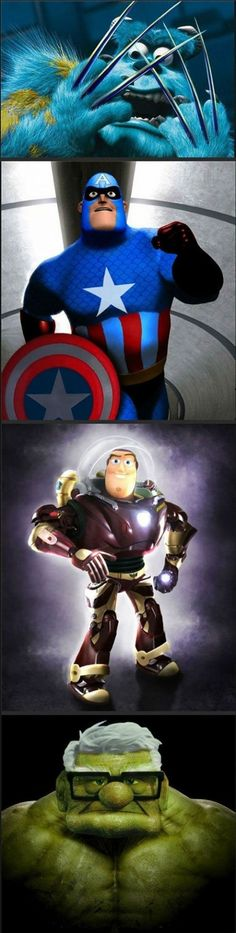 Pixar meets Marvel... Still giggling from seeing the last picture :)