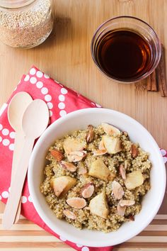 This Cinnamon Apple Maple Quinoa is a delicious and healthy breakfast at less than 350 calories per serving!