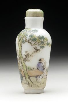 Snuff Bottle (Biyanhu) with Scholar Admiring the Moon China, Chinese, Late Qing dynasty, about 1800-1911 Tools and Equipment; bottles Opaque white glass with painted enamel decoration, with jade stopper Height: 2 3/4 in. (7 cm); Width: 1 1/4 in. (3.2 cm) Gift of Albert G. Wassenich (34.13.795a-b) Chinese Art