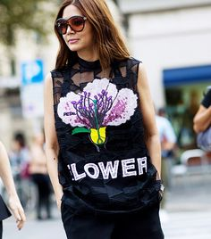 The Latest Street Style Photos From Milan Fashion Week via @WhoWhatWear--- print and patterned tank