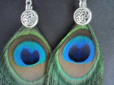 Celtic Knot and Peacock Feather Earrings