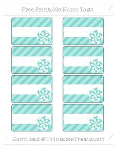Free Tiffany Blue Diagonal Striped  Cheer Pom Pom Name Tags
