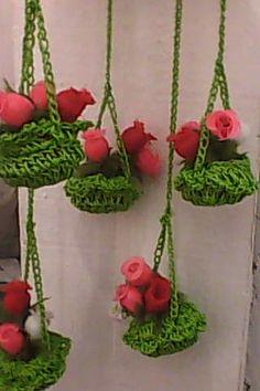 floreira de croche c/garrafa pet