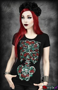black t-shirt Blooming skeleton with red roses gothic t-shirt | CLOTHING \ T-shirts | Restyle.pl