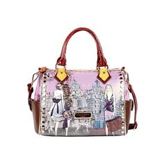 Women's Nicole Lee Kayla Blocked Fashionista Print Satchel - Clock... (280 SAR) ❤ liked on Polyvore featuring bags, handbags, none, nicole lee handbags, dome satchel, nicole lee purses, white tote purse en satchel purse