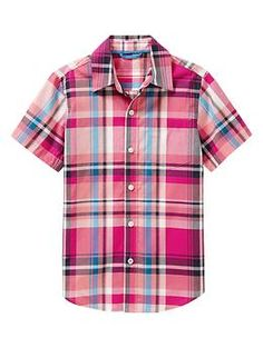 Short-sleeve multi-color plaid shirt