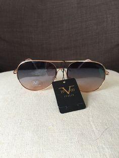 2287dd9de6cc 19V69 Italia Versace 1969 RGD Martina Gold Rose Aviator Sunglasses NWT