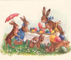 Vintage Easter Bunny family