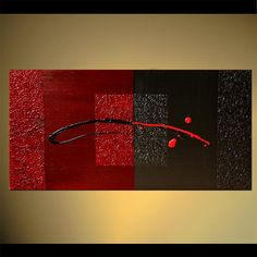 Black Red Abstract Painting Original Contemporary von OsnatFineArt