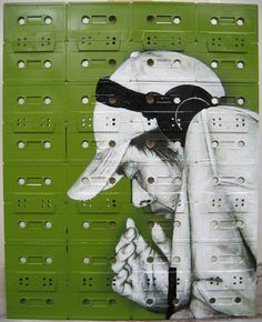 Paintings on cassette tape canvas by Sami Havia