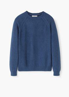Textured cotton wool-blend sweater | MANGO MAN
