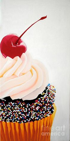Cherry on top ©Devan Gregori Top Paintings, Little Cup, Cupcake Art, Love Cupcakes, Cherry On Top, Fruit And Veg, Paint Party, Summer Art, Mini Cakes