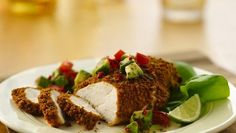 Under 300 calories- Lime Cumin- Crusted Chicken with Avocado Salsa Yummy Chicken Recipes, Great Recipes, Favorite Recipes, Yummy Food, Yummy Yummy, Yummy Treats, Dinner Recipes, Healthy Cooking, Healthy Snacks