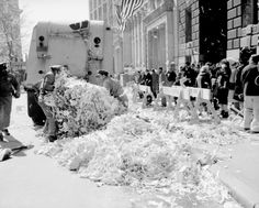 Vintage 1962, cleaning up after John Glenn's Ticker Tape Parade, NYC, www.RevWill.com