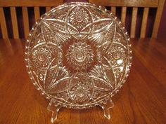 "Gorgeous Vintage EAPG Hobstar Fan Finecut 9"" Clear Glass Cake Plate ~ Platter"