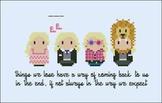 Harry Potter - Luna Lovegood Outfits Oh that little girl. A cross stitch pattern with her most amazing outfits and featuring the lost shoes! This listings is for a virtual pattern that you can print off at home, or view via a c Luna Lovegood, Cross Stitch Fairy, Cross Stitch Love, Cross Stitch Patterns, Hama Beads, Perler Bead Art, Pixel Art, Harry Potter Perler Beads, Cross Stitch Harry Potter
