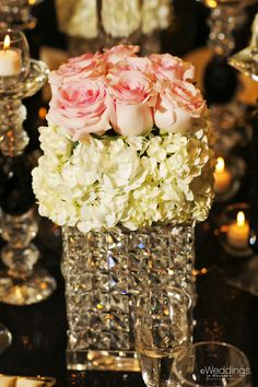 Pink rose and ivory hydrangea flower arrangement ~ Plants N' Petals ~ Photo: D. Jones Photography