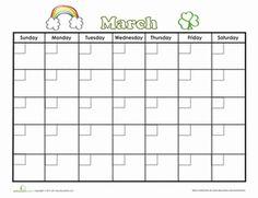 Second Grade Time Worksheets: March Calendar