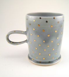 Gold Polka Dot Porcelain Mug by Silver Lining Ceramics on Scoutmob Shoppe.