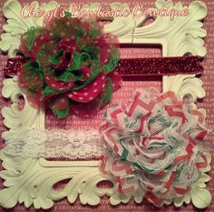 Mesh and Eyelet Flower Headbands You choose your fav color by CherylsBowtasticBows