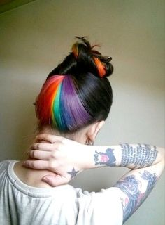 I don't think I would do the rainbow but a good way to get some crazy hair on while still being work appropriate!