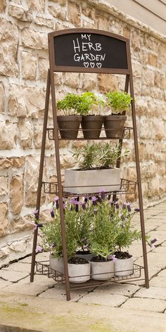 This charming 3 tier metal plant stand with mesh planter holders would make a beautiful addition to any garden. Using rust finished chicken wire to bring a raw finish this plant stand comes with a clean chalk board. Plant stand only - planters not supp Barbecue, Garden Mall, Metal Plant Stand, Plant Stands, Sutton Seeds, Small Urns, Outdoor Pots, Outdoor Ideas, Outdoor Living