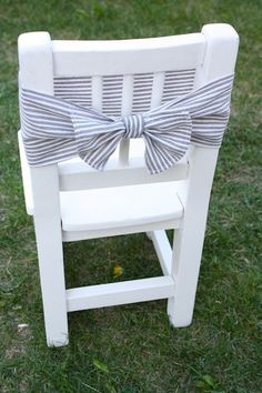 Chair With Ribbon | All Things Beautiful (DIY with seersucker fabric!)
