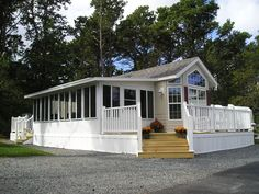 RVs, Park Models, Mobile Homes & Modular Homes Products Park Model Rv, Park Model Homes, Porch For Rv, Front Porch, Porch On Double Wide, Manufactured Home Porch, Porch Addition, Sunroom Decorating, House Deck