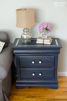 Milk paint nightstand - and I love the mercury glass inspired lamp!  15 Must Make #Makeovers via www.waittilyourfathergetshome.com #DIY