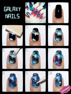 Galaxy/space nails how-to