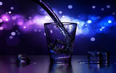 Download wallpapers glass, water stream, ice cubes, close-up