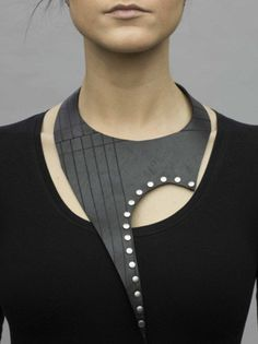 GAGA COLLAR recycled rubber innertube silver by KatchaBilek