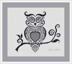 Cross Stitch Pattern Silhouette Vintage owl by HallStitch on Etsy