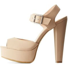 Bamboo Bamboo Block Heel Platform Sandals (680 MXN) ❤ liked on Polyvore featuring shoes, sandals and nude