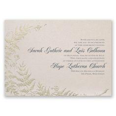 Ferns of Gold Wedding Invitations at Invitations By Dawn