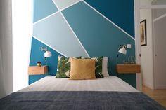 Bedroom Paint Design, Bedroom Wall Designs, Interior Design Living Room, Geometric Wallpaper Design, Geometric Wall Paint, Dulux Exterior Paint Colours, Blue Bedroom, Bedroom Decor, Living Room Modern