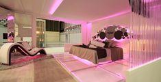 Bedroom: Sparkling Pink LED Strip Lighting For Romantic Master ... www.highwayswest.com