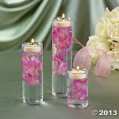 """Cynlinder Tealight Holders - 1 3/4"""" diameter glass cylinders that are 5"""", 4"""" and 3"""" high and INCLUDE tealight inserts for the top (3 pcs. per set)  $10.50"""