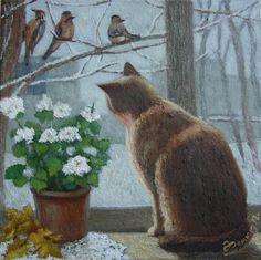 Фомюк Василий. Кот у зимнего окна (Vasili Fomiuk - Cat at winter window)